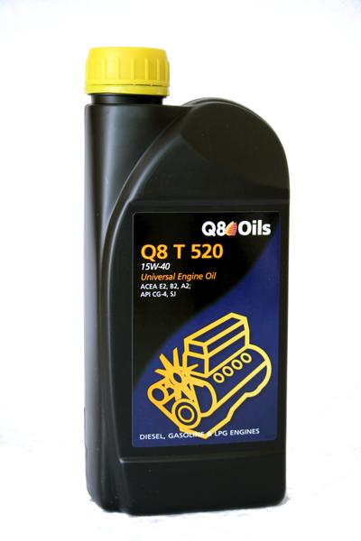 Bidon 1 litre d'huile moteur Q8 T 520 15W40 Réf. 101155801763