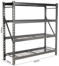 TOPCAR - Rayonnage d'atelier (étagère) mi-lourd - 183x61x183cm - Noir - 2000 kgs - 09006