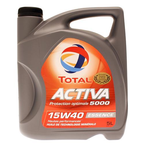 Bidon 5 litres d'huile moteur Activa 5000 15W40 Total